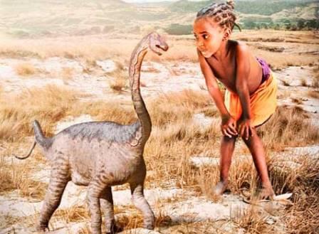 Детеныши человека и рапетозавра