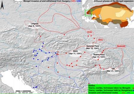 Маршрут вторжения (красный) и отступления (синий) монголов из Венгрии