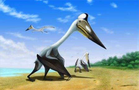 Птерозавр Volgadraco bogolubovi на одном из островных пляжей Поволжского архипелага