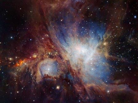 Глубокий инфракрасный снимок Туманности Ориона, полученный с камерой HAWK-I