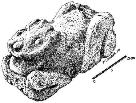Каменная скульптура кролика из Теотиуакана
