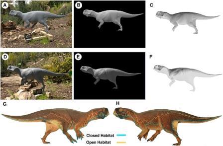 Пситтакозавр в открытой и закрытой местности