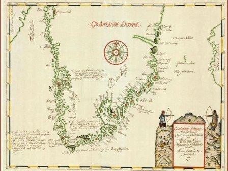 Карта Гренландии, выполненная Хансом Эгеде (1723)