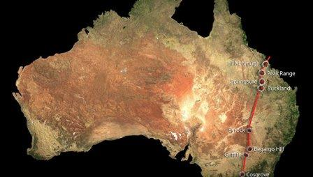Карта Австралии с отмеченными на ней очагами вулканизма в цепи Косгроув
