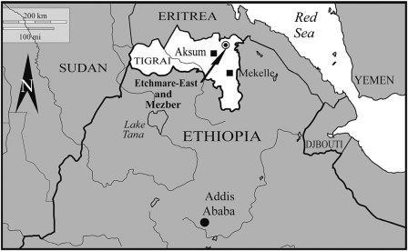 Карта, на которой стрелкой показано местонахождение Мезбер на севере Эфиопии