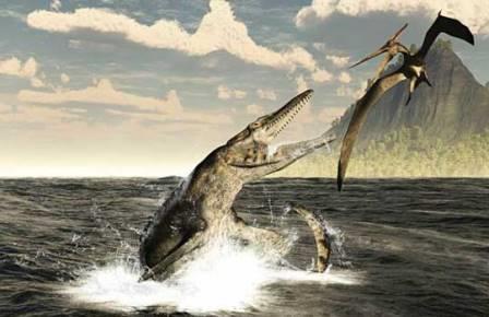 Родственный кайкайфилу тилозавр атакует птеранодона
