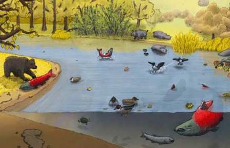 Саблезубые лососи в древней реке