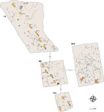 Схема 4 площадок со следами на участке S в Лаэтоли