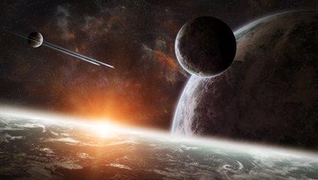Восход солнца над группой планет © Fotolia/ sdecoret