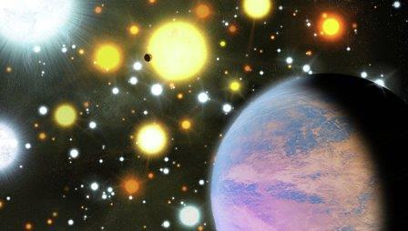 """Так художник представил себе """"мини-нептун"""" у звезды внутри рассеянного скопления"""