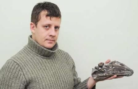 И. Стеньшин с черепом нового ихтиозавра