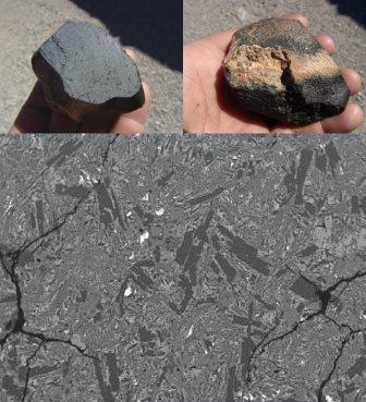 Образцы метеорита NWA 7635 и электронная микрофотография его поверхности