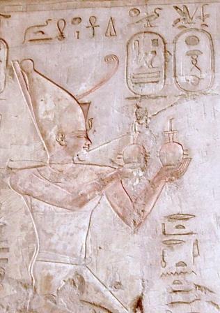 Рельеф с изображением Псамметиха I в гробнице Пабаса