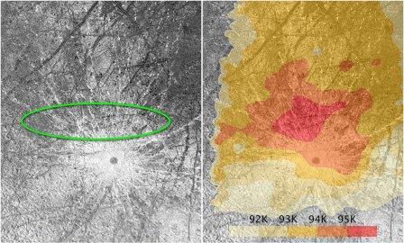 Место на поверхности Европы, где предположительно возникли гейзеры 2013 и 2016 годов