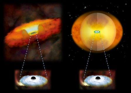 """Астрономы НАСА выяснили, что слияния галактик заставляют черные дыры одеваться в пылевую """"шубу"""""""