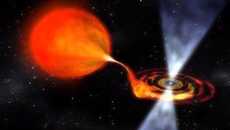 Миллисекундный пульсар высасывает материю из звезды-компаньона