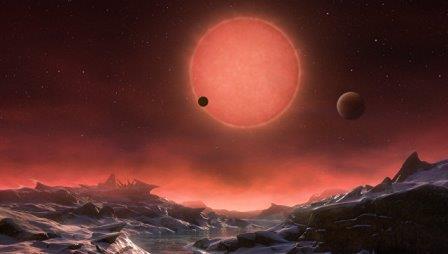 Так художник представил себе планету TRAPPIST-1d и ее двух кузин