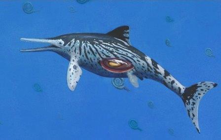 Ихтиозавр с эмбрионом в представлении художника