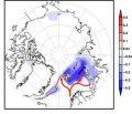 Сине-фиолетовыми контурами показаны изолинии концентрации морского льда в зимний сезон за период с 1979 по 2017 г.