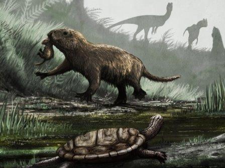 Фауна мезозоя (сверху вниз): Dilophosaurus, Kayentatherium, и Kayentachelys