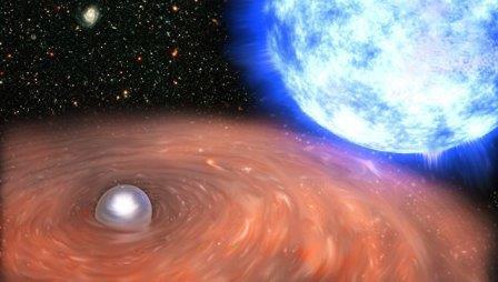 Двойная звездная система HD 49798 в созвездии Кормы в представлении художника