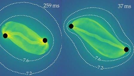 Кадры из симуляции процесса рождения черных дыр в недрах звезды