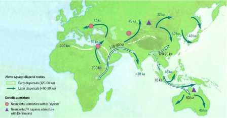 Карта расселения Homo sapiens