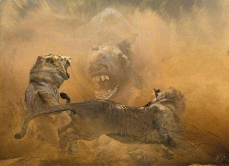 Встреча молодых американских львов и миксотоксодона, характерного представителя южноамериканской фауны позднего плейстоцена