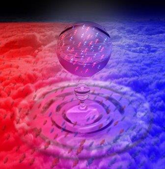 Так художник изобразил квантовую жидкую каплю, образованную смешиванием двух конденсатов ультрахолодных атомов калия