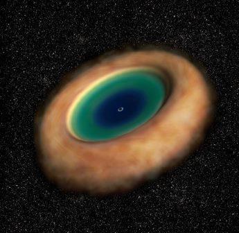 Пыльный газообразный тор вокруг активной сверхмассивной черной дыры в представлении художника © ALMA (ESO/NAOJ/NRAO)