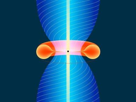Сверхмассивная черная дыра, окруженная аккреционным диском, испускает джет
