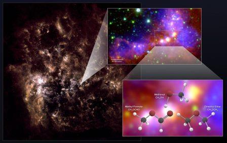 Астрономы, использующие ALMA , обнаружили в «Большом Магеллановом Облаке» химические «отпечатки» метанола, диметилового эфира и метилформиата.
