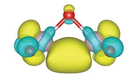 Рис. 3. Электронное облако верхней занятой молекулярной орбитали мономерного звена Tc2O5