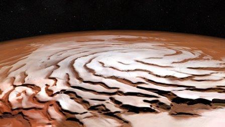 Северная полярная шапка на Марсе. Архивное фото © SA/DLR/FU Berlin; NASA MGS MOLA Science Team
