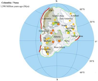 Рис. 1. Реконструкция гипотетического суперконтинента Колумбия, или Нуна