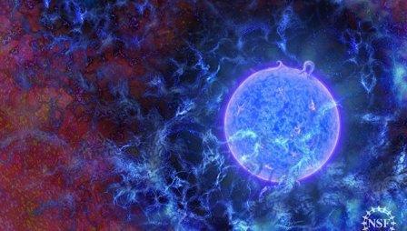 Так художник представил себе первую звезду Вселенной © N.R.Fuller, National Science Foundation
