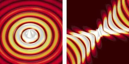 Иллюстрация волн, распространяющихся от точечного источника. Слева: регулярное распространение волн. Справа: распространение волн на гиперболической метаповерхности. © P. Li, CIC nanoGUNE