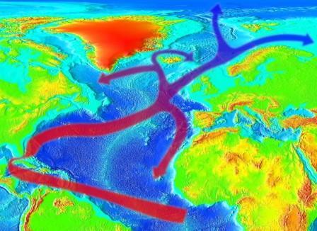 Схема переноса тепла течением Гольфстрим © RedAndr