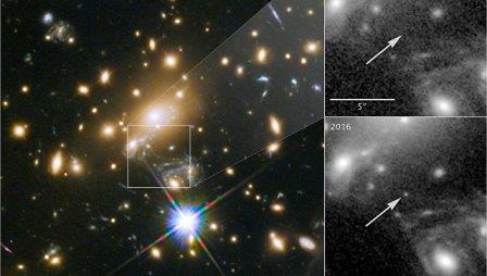 Звезда Икар, MACS J1149 LS1, пока самое далекое светило мироздания © NASA, ESA, and P. Kelly, University of Minnesota