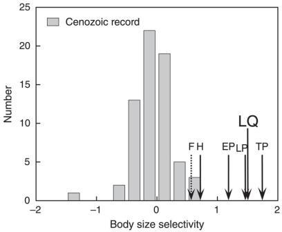 Рис. 1. Зависимость вероятности вымирания млекопитающих от массы тела в разные эпохи кайнозоя.