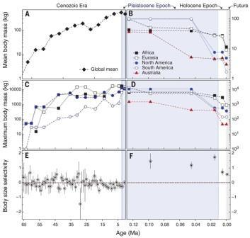 Рис. 3. Изменение размеров млекопитающих в течение кайнозоя. В каждой паре графиков слева показан весь кайнозой
