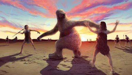Так художник представил себе предков индейцев, охотившихся на гигантского ленивца © Alex McClelland, Bournemouth University