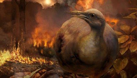 Так художник представил себе сухопутную птицу в лесу после падения астероида© Phillip M. Krzeminski