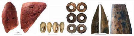 Слева направо — образцы охры; бусины из раковин и скорлупы; костяной инструмент (на увеличенном фрагменте видны следы обработки) ©Francesco D'Errico and Africa Pitarch