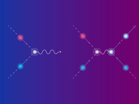 Схематическое изображение двух сценариев исчезновения частицы-электрона