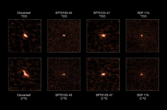 Четыре удаленных галактики со вспышками звездообразования, наблюдавшиеся на ALMA. Изображения в верхнем ряду показывают излучение 13C в каждой из галактик, в нижнем – эмиссию 18O. © ALMA (ESO/NAOJ/NRAO), Zhang et al.