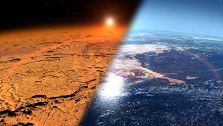 Марс сегодня (слева), так Марс мог выглядеть раньше (справа) © NASA / Goddard Space Flight Center