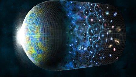 Так художник представил себе эволюцию Вселенной и рождение эха Большого Взрыва © CfA/M. Weiss
