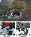 Ямальский кратер 15 июля 2015 года (фотография Руслана Аманжурова) и спутниковые снимки высокого разрешения 2012 (а) и 2013 года (б)