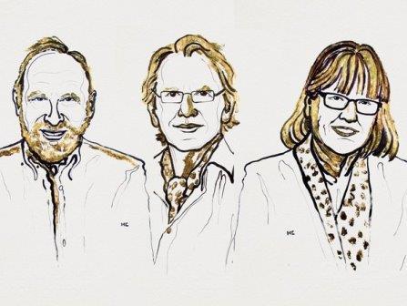Артур Ашкин, Жерар Муру, Донна Стрикленд © Nobel Media